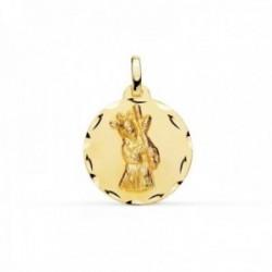 Medalla oro 18k Cristo Gran Poder 18mm. redonda borde tallado