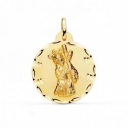 Medalla oro 18k Cristo Gran Poder 24mm. redonda borde tallado