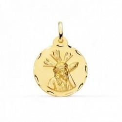 Medalla oro 18k Cristo Gran Poder 20mm. redonda borde tallado