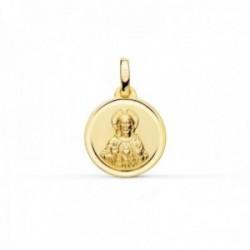 Medalla oro 18k Corazón de Jesús 14mm. lisa cerco bisel