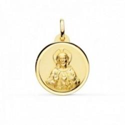 Medalla oro 18k Corazón de Jesús 20mm. lisa cerco bisel