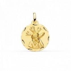 Medalla oro 18k Cristo Gran Poder redonda 18mm. borde tallado