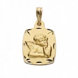 Medalla oro 18k angelito burlón restangular tonel bordes detalles tallados