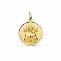 Medalla oro 18k Virgen Perpetuo Socorro 18mm. lisa cerco bisel