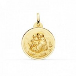 Medalla oro 18k San Antonio 20mm. lisa cerco bisel