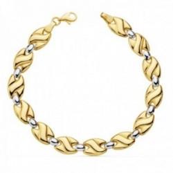 Pulsera oro bicolor 18k estampación 19cm. eslabones brillo mate ovales cierre mosquetón