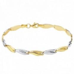 Pulsera oro bicolor 18k estampación semirrígida 19cm. eslabones brillo lisos tallados mosquetón