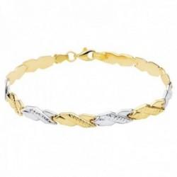 Pulsera oro bicolor 18k estampación semirrígida 19cm. eslabones forma X lisos tallados mosquetón