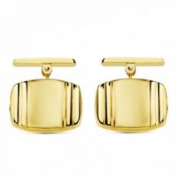 Gemelos oro 18k tonel rectangular 17mm. bandas liso cierre rígido