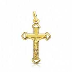 Colgante oro 9k cruz crucifijo 23mm. centro Cristo puntas caladas