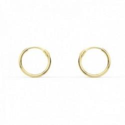 Pendientes oro 9k aros 10mm. mujer ligeros redondos lisos media caña