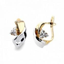 Pendientes oro bicolor 9k mujer 12mm. bandas lisas centro detalle circonita triángulo cierre catalán