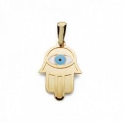 Colgante oro 9k Mano de Fátima 19mm. centro ojo azul blanco esmaltado