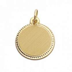 Colgante oro 9k chapa 16mm. redonda lisa detalle borde tallado