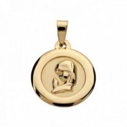Medalla oro 9k Virgen Niña 18mm. lisa redonda cerco liso