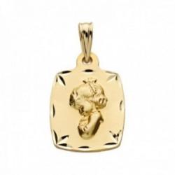 Medalla oro 9k Virgen Niña 19mm. lisa rectangular detalles bordes tallados