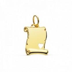 Colgante oro 9k pergamino 15mm. rectangular corazón calado