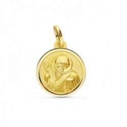 Medalla oro 9k escapulario 14mm. San Benito redondo cerco bisel