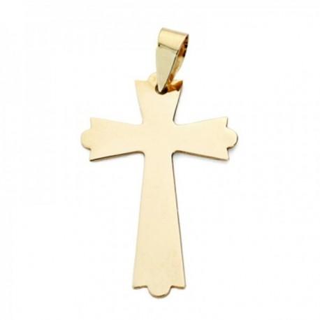 Colgante oro 9k cruz 25mm. lisa plana sin cristo puntas formas redondeadas