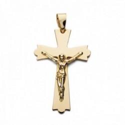 Colgante oro 9k cruz 29mm. lisa plana crucifijo con Cristo puntas formas redondeadas