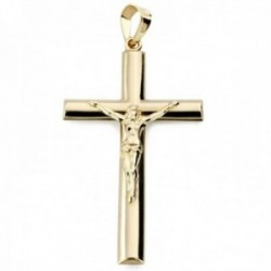 Colgante oro 9k cruz 34mm. palo oval lisa crucifijo con cristo