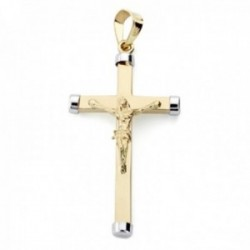 Colgante oro bicolor 9k cruz lisa 32mm. crucifijo Cristo puntas chatones