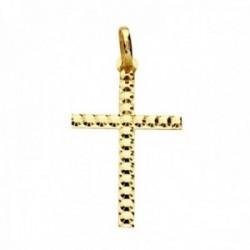 Colgante oro 9k cruz 29mm. palo plano tallada sin cristo