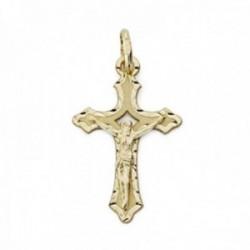Colgante oro 9k cruz 22mm. crucifijo Cristo centro calado tallado borde brillo plano