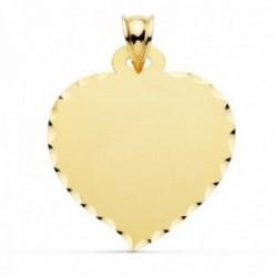 Colgante oro 9k chapa 32mm. forma corazón liso borde tallado