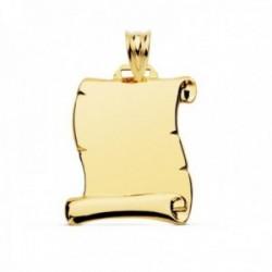 Colgante oro 9k pergamino 22mm. liso ligero rectangular borde detalles