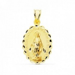 Medalla oro 9k oval 28mm. Virgen Milagrosa símbolo reverso bordes tallados