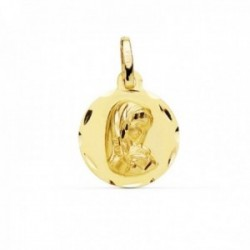Medalla oro 9k Virgen Niña 14mm. lisa redonda cerco detalles tallados
