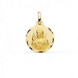 Medalla oro 9k Corazón de Jesús 16mm. lisa redonda cerco detalles tallados