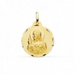 Medalla oro 9k Corazón de Jesús 20mm. lisa redonda cerco detalles tallados