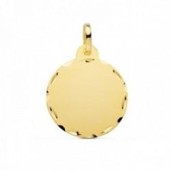 Colgante oro 9k disco 20mm. chapa lisa redonda borde tallado