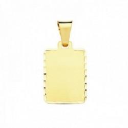 Colgante oro 9k chapa 20mm. lisa rectangular borde tallado