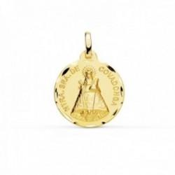 Medalla oro 9k Virgen de Covadonga 18mm. redonda lisa borde tallado