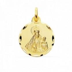Medalla oro 9k Virgen del Rosario 18mm. redonda lisa borde tallado