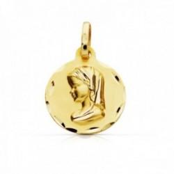 Medalla oro 9k Virgen Niña 18mm. redonda lisa borde tallado