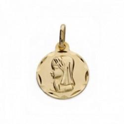 Medalla oro 9k Virgen Niña redonda 18mm. lisa borde tallado