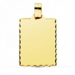 Colgante oro 9k chapa 28mm. lisa rectangular borde tallado