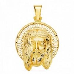 Colgante oro 18k 29mm. cabeza rostro de Cristo orla calada bandas detalles tallados
