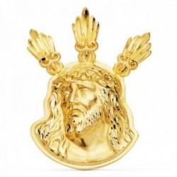 Colgante oro 18k 38mm. cabeza rostro de Cristo Potencias detalles tallados