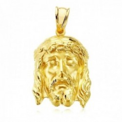 Colgante oro 18k 27mm. cabeza rostro de Cristo de la Buena Muerte detalles tallados