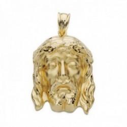 Colgante oro 18k 32mm. cabeza rostro de Cristo de la Buena Muerte detalles tallados