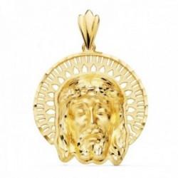 Colgante oro 18k 34mm. cabeza rostro de Cristo orla calada formas detalles tallados