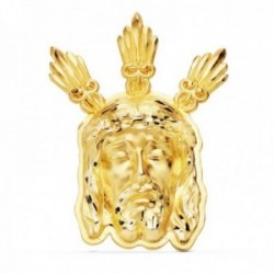 Colgante oro 18k 39mm. cabeza rostro de Cristo Potencias detalles tallados