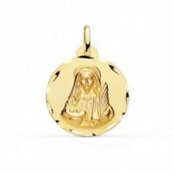 Medalla oro 18k Santa Lucía 22mm. redonda borde tallado