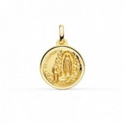Medalla oro 18k Virgen de Lourdes 16mm. redonda lisa cerco bisel