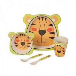 Juego vajilla fibra de bambú infantil tigre 5 piezas biodegradable ecológico